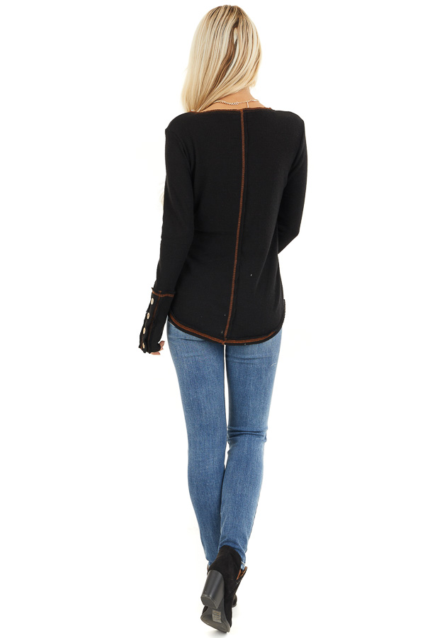 Black Waffle Knit Long Sleeve Top with Wooden Button Details back full body
