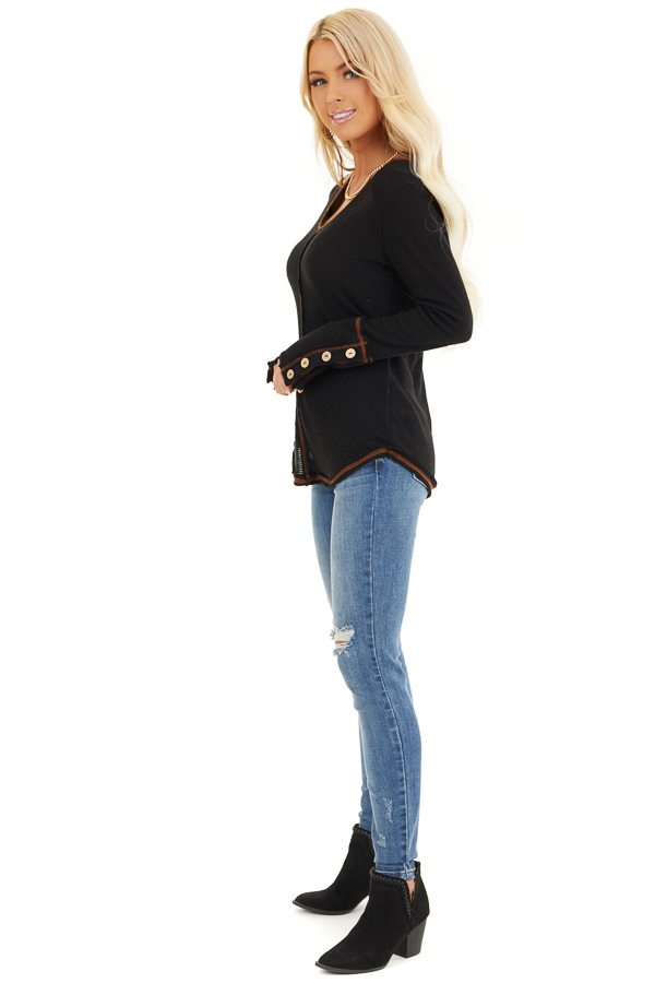 Black Waffle Knit Long Sleeve Top with Wooden Button Details side full body