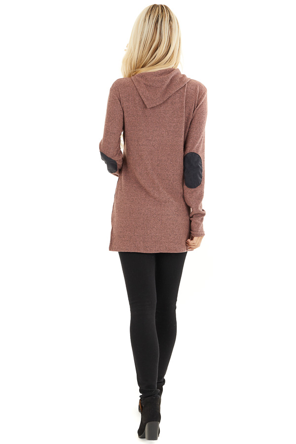 Mauve Ribbed Top with Elbow Patches and Button Neckline back full body