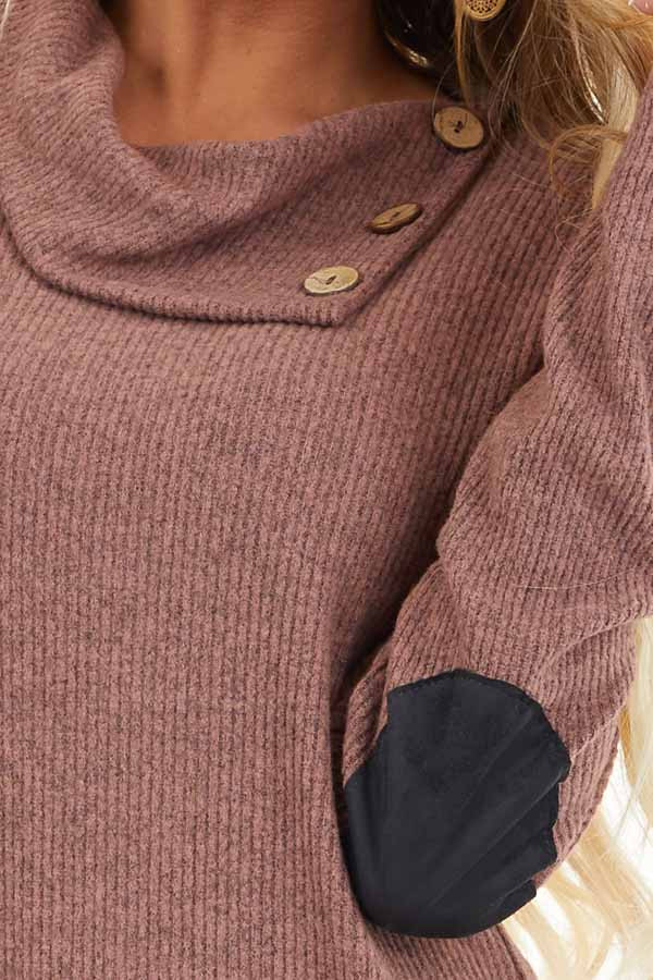 Mauve Ribbed Top with Elbow Patches and Button Neckline detail