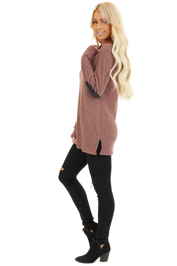 Mauve Ribbed Top with Elbow Patches and Button Neckline side full body