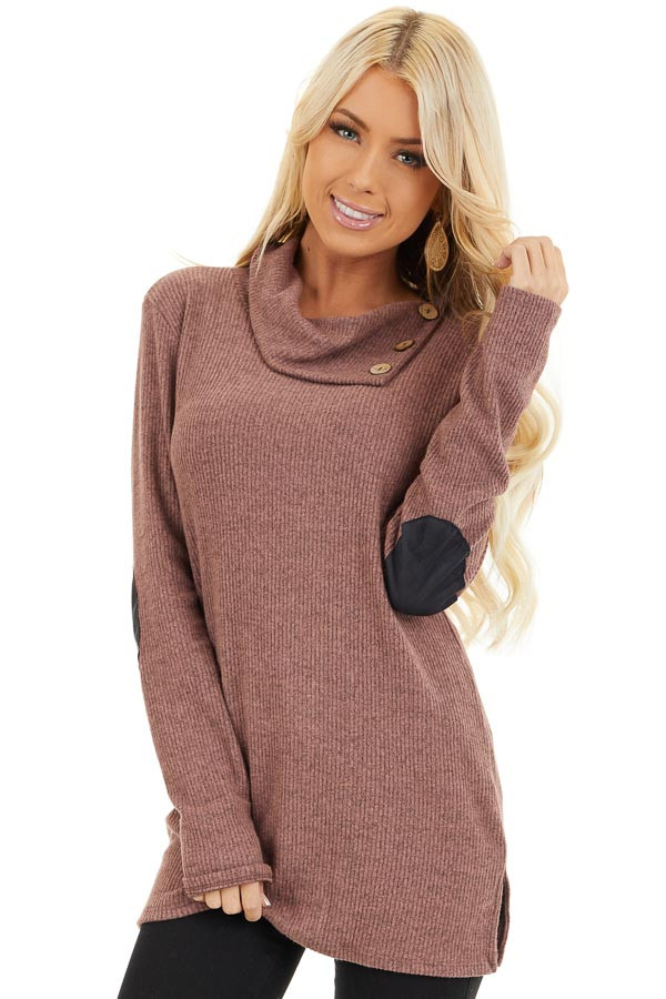 Mauve Ribbed Top with Elbow Patches and Button Neckline front close up