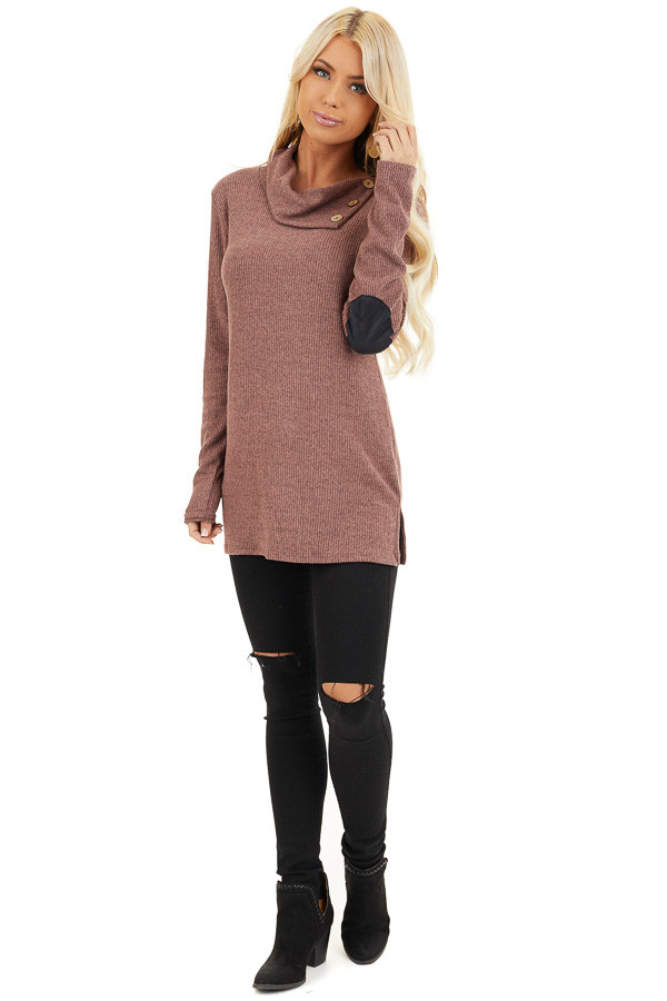 Mauve Ribbed Top with Elbow Patches and Button Neckline front full body