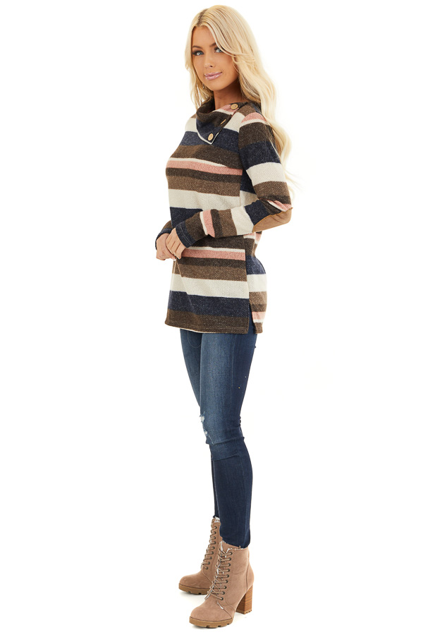 Multi Color Striped Long Sleeve Top with Button Neckline side full body