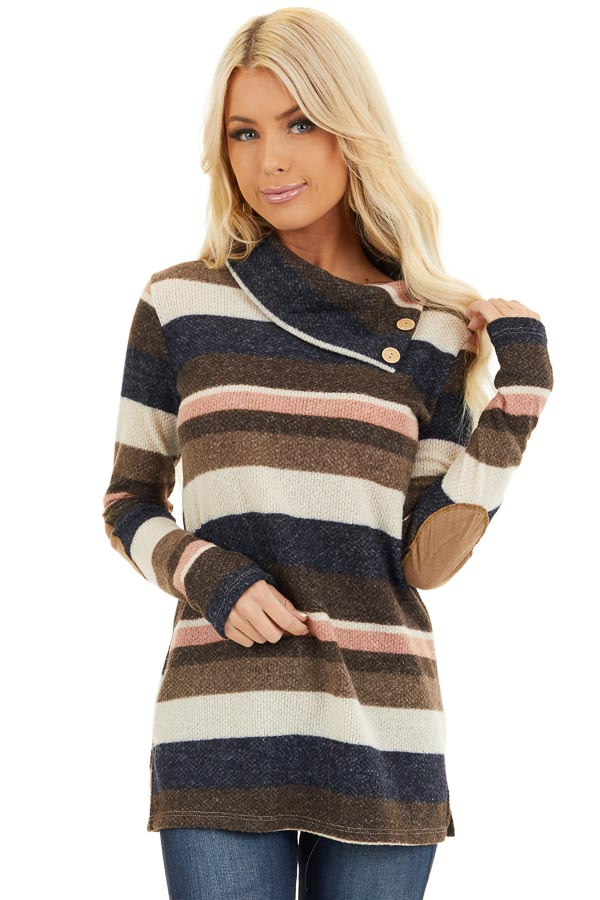 Multi Color Striped Long Sleeve Top with Button Neckline front close up
