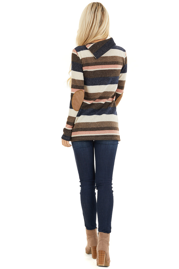 Multi Color Striped Long Sleeve Top with Button Neckline back full body