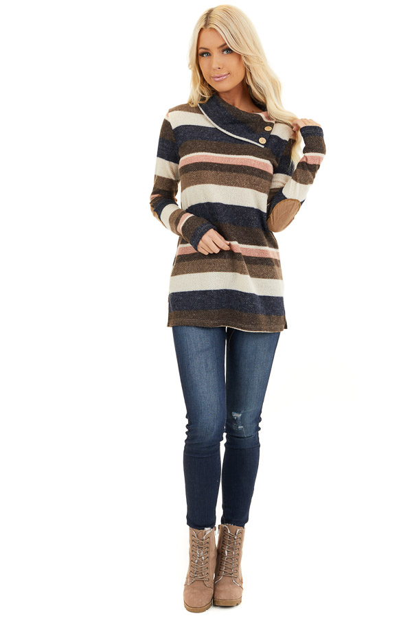 Multi Color Striped Long Sleeve Top with Button Neckline front full body