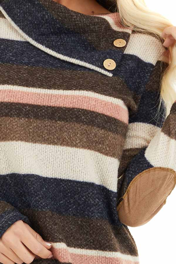Multi Color Striped Long Sleeve Top with Button Neckline detail