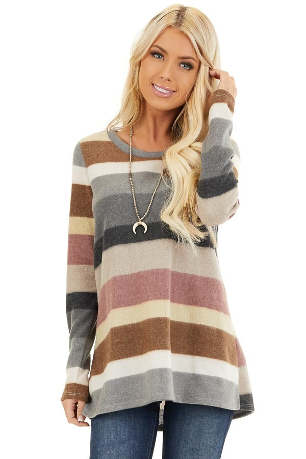 Multi Color Striped Fuzzy Long Sleeve Tunic Top front close up