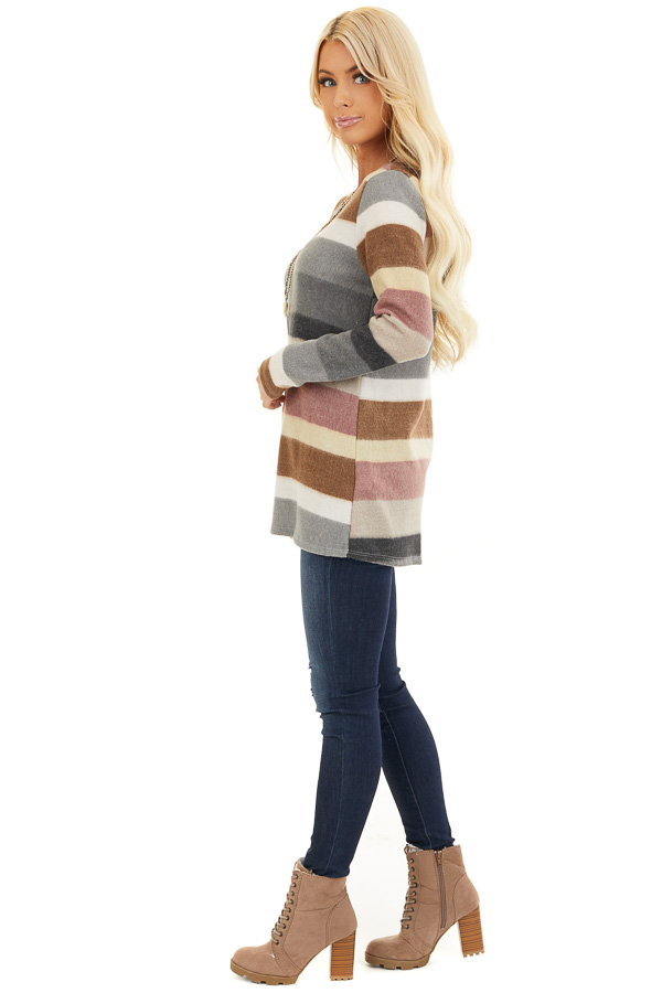 Multi Color Striped Fuzzy Long Sleeve Tunic Top side full body