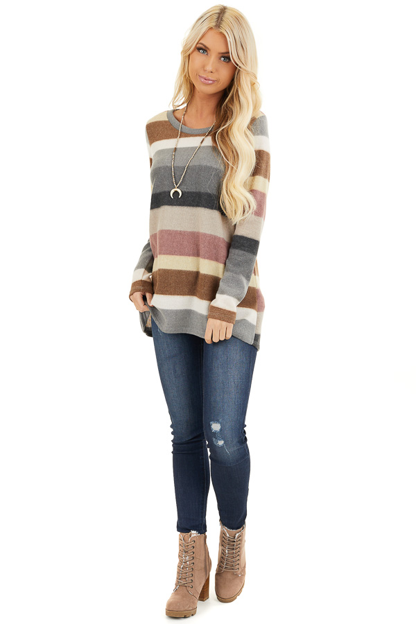 Multi Color Striped Fuzzy Long Sleeve Tunic Top front full body
