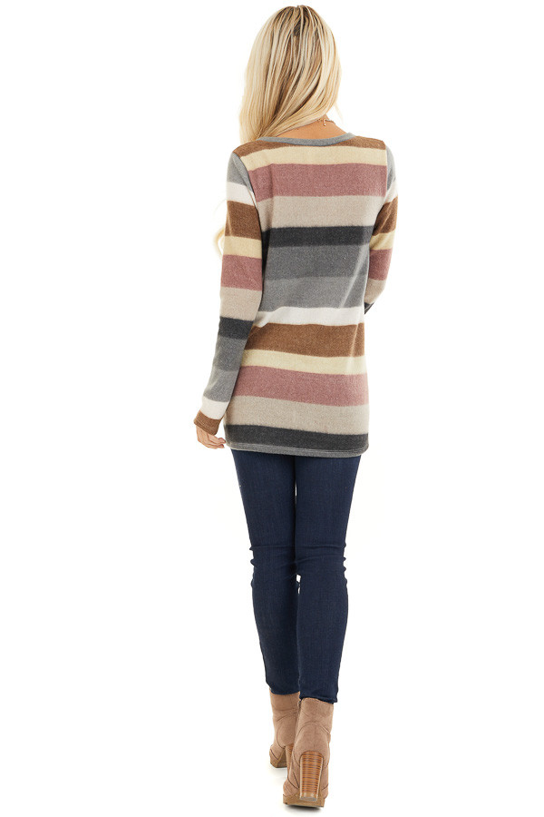 Multi Color Striped Fuzzy Long Sleeve Tunic Top back full body