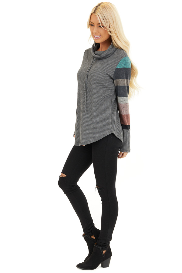 Charcoal Cowl Neck Knit Top with Multi Color Striped Sleeves side full body