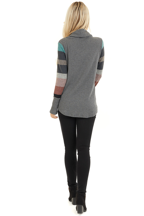 Charcoal Cowl Neck Knit Top with Multi Color Striped Sleeves back full body