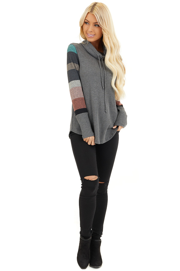 Charcoal Cowl Neck Knit Top with Multi Color Striped Sleeves front full body