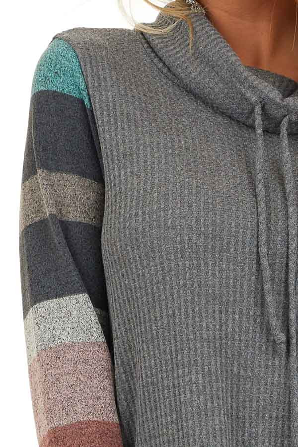 Charcoal Cowl Neck Knit Top with Multi Color Striped Sleeves detail