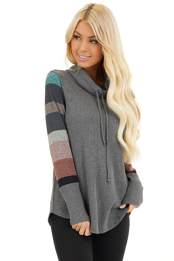 Charcoal Cowl Neck Knit Top with Multi Color Striped Sleeves front close up