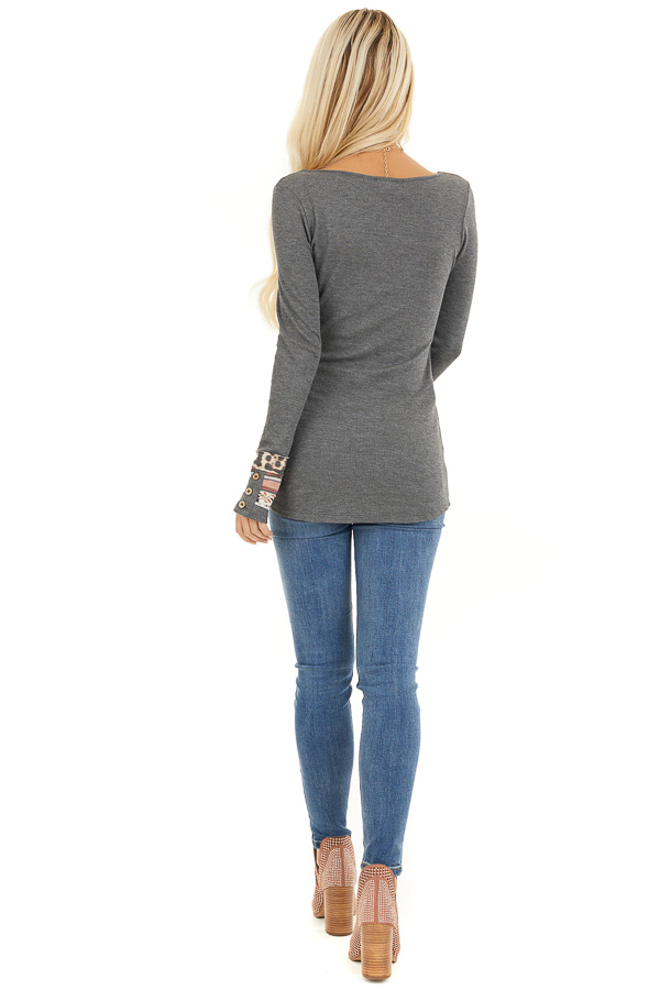 Charcoal Waffle Knit Top with Multiprint Cuff Detail back full body