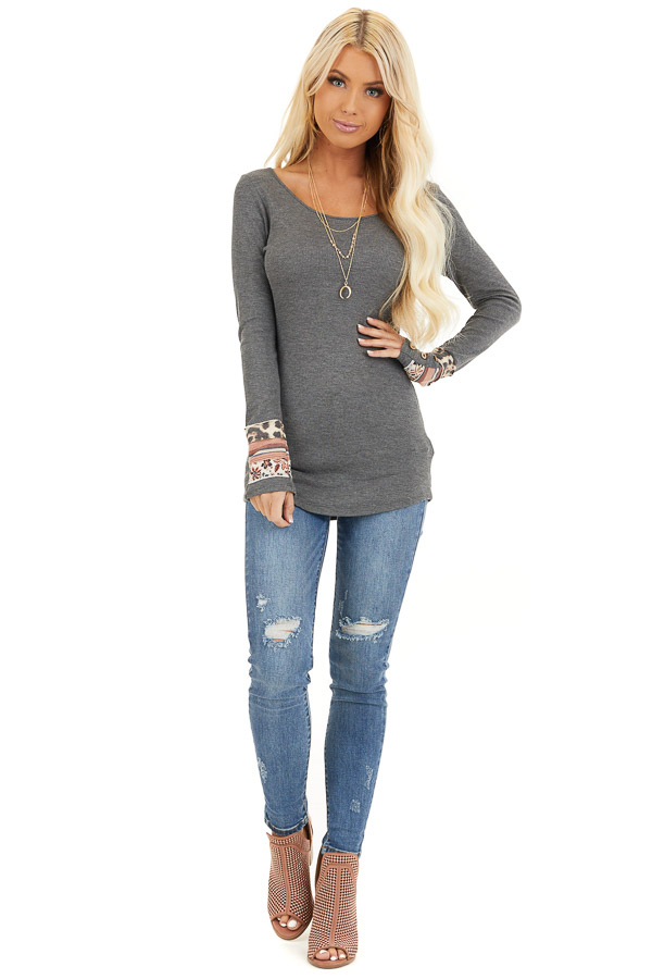 Charcoal Waffle Knit Top with Multiprint Cuff Detail front full body