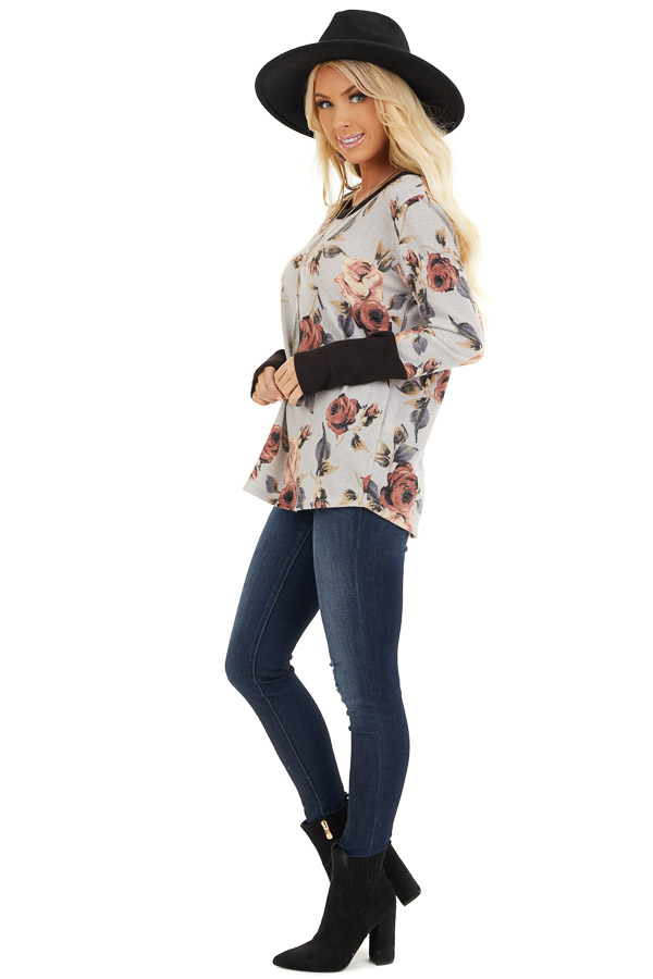 Heather Grey Floral Print Knit Top with Ribbed Sleeve Detail side full body