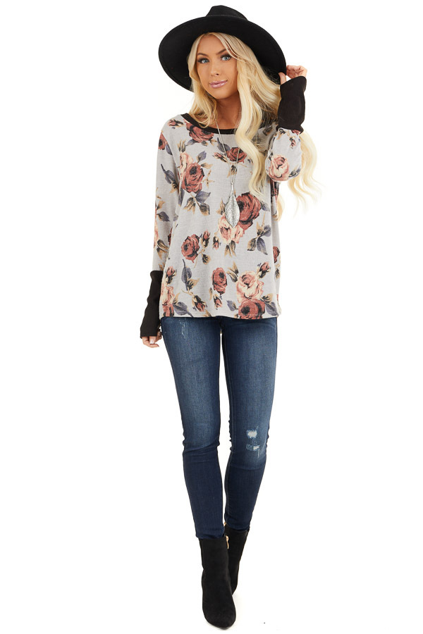 Heather Grey Floral Print Knit Top with Ribbed Sleeve Detail front full body