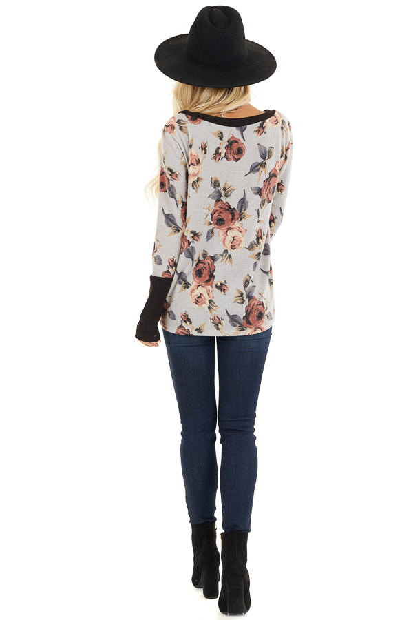 Heather Grey Floral Print Knit Top with Ribbed Sleeve Detail back full body