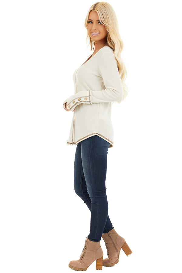 Cream Waffle Knit Long Sleeve Top with Wooden Button Details side full body