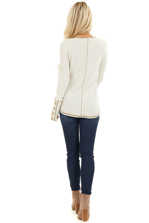Cream Waffle Knit Long Sleeve Top with Wooden Button Details back full body