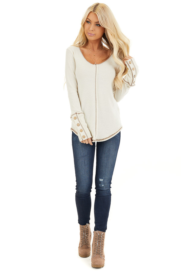 Cream Waffle Knit Long Sleeve Top with Wooden Button Details front full body