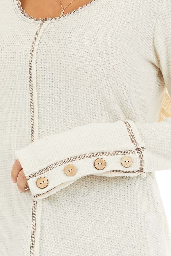 Cream Waffle Knit Long Sleeve Top with Wooden Button Details detail