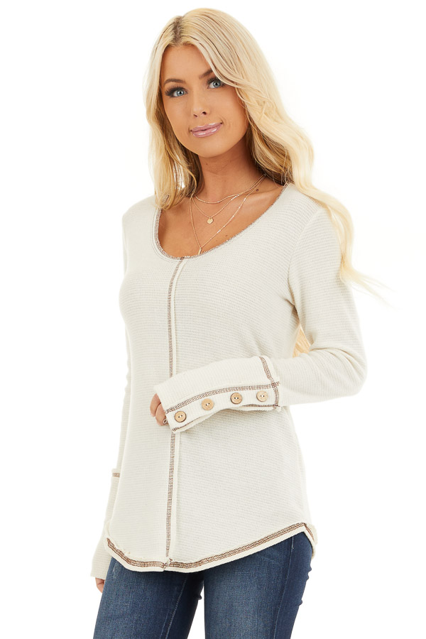 Cream Waffle Knit Long Sleeve Top with Wooden Button Details front close up