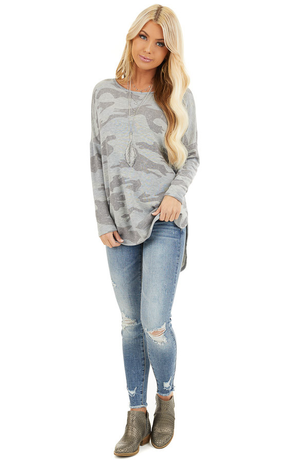 Dove Grey Camo Long Sleeve Top with Side Slits front full body