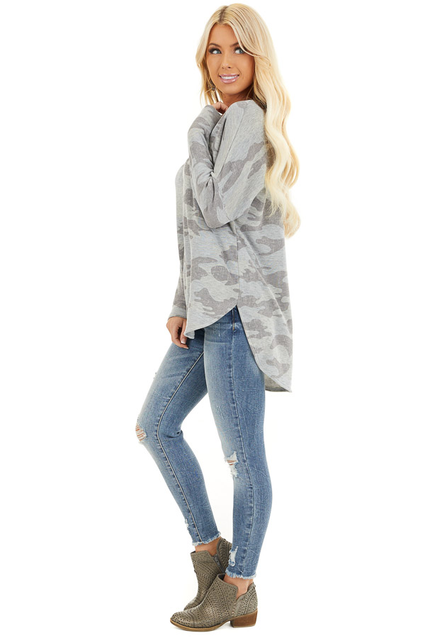 Dove Grey Camo Long Sleeve Top with Side Slits side full body