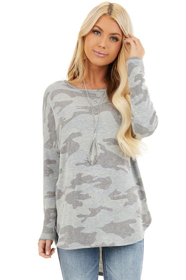 Dove Grey Camo Long Sleeve Top with Side Slits front close up