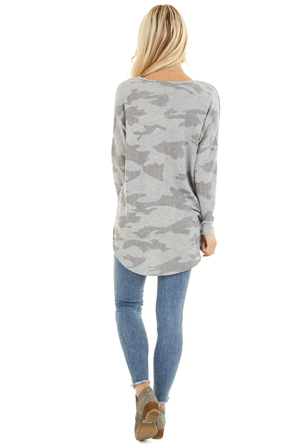 Dove Grey Camo Long Sleeve Top with Side Slits back full body
