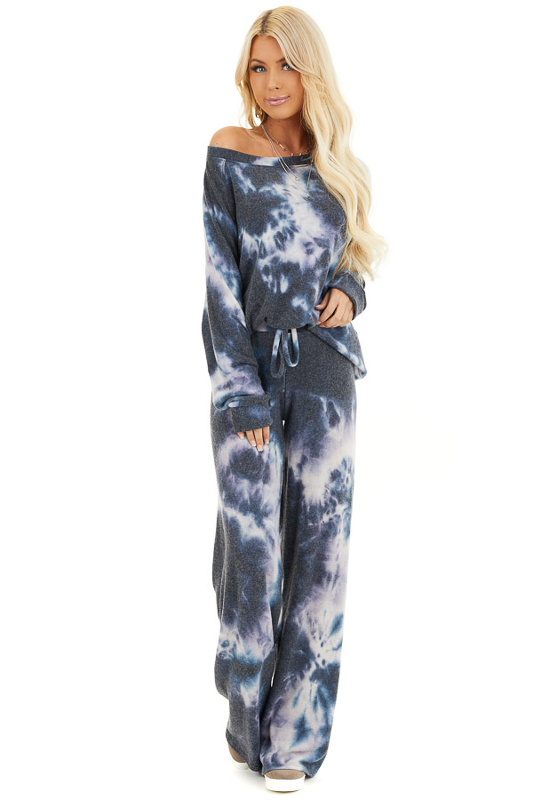 Navy and Lavender Tie Dye Super Soft Long Sleeve Top front full body