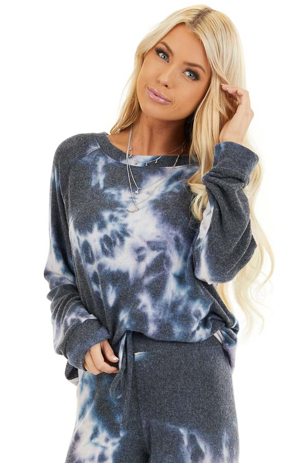 Navy and Lavender Tie Dye Super Soft Long Sleeve Top front close up