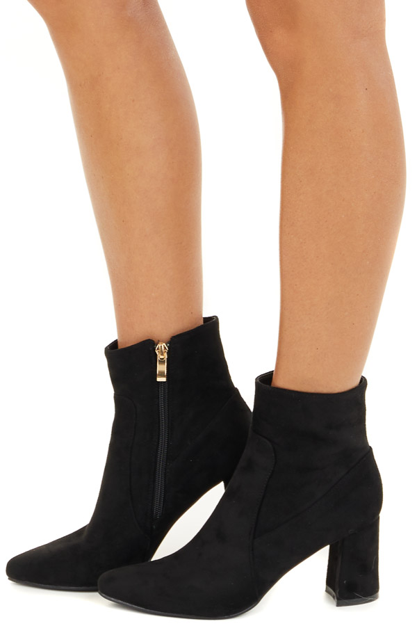 Black Faux Suede Chunky Heel Pointed Toe Bootie side view
