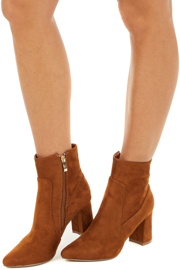 Caramel Faux Suede Chunky Heel Pointed Toe Bootie side view