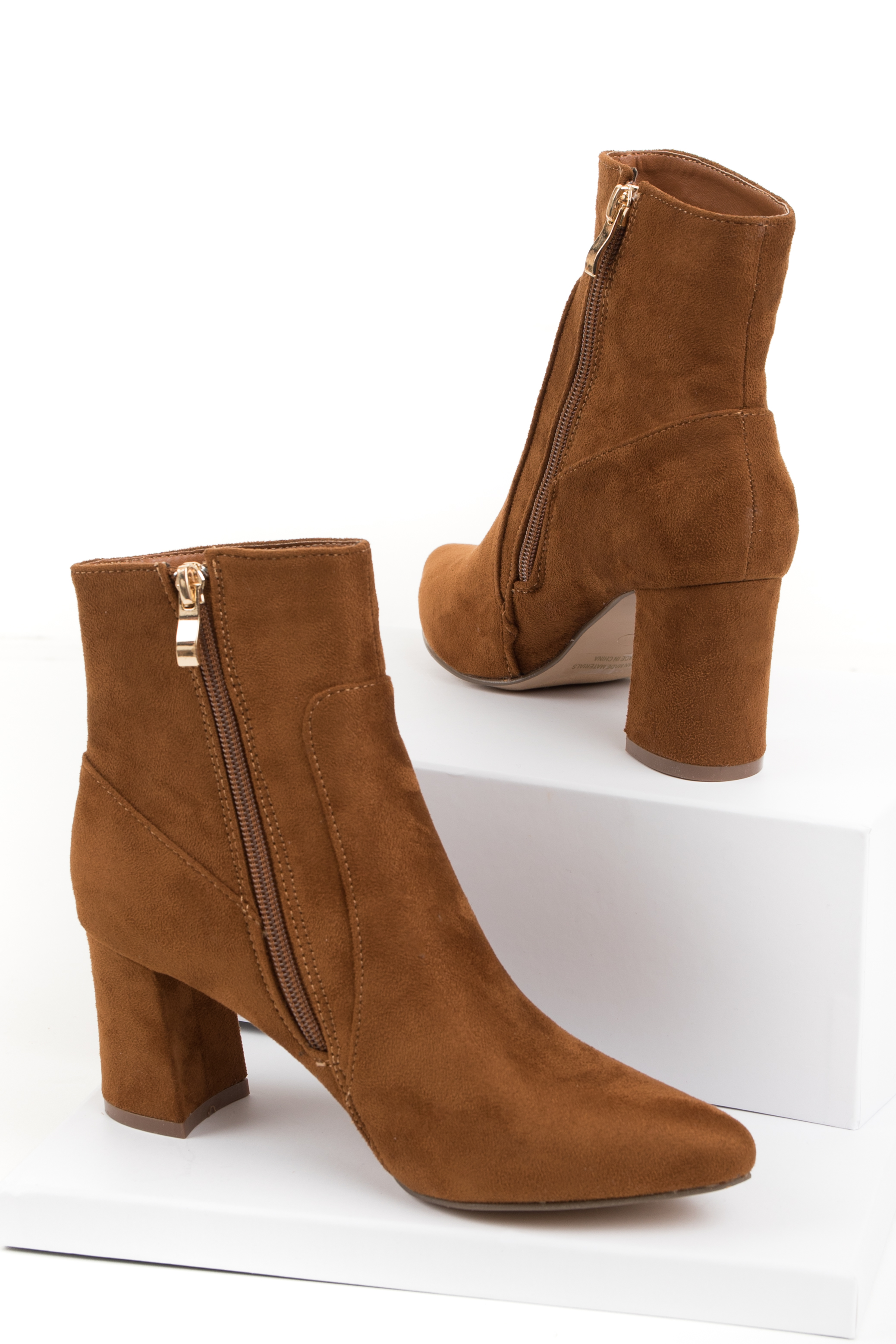 Caramel Faux Suede Chunky Heel Pointed Toe Bootie