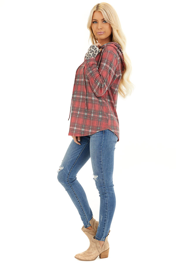 Faded Ruby Plaid Hoodie Top with Leopard Print Contrast side full body
