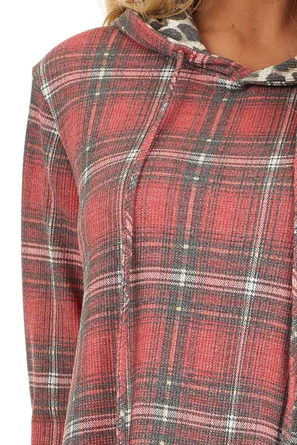 Faded Ruby Plaid Hoodie Top with Leopard Print Contrast detail