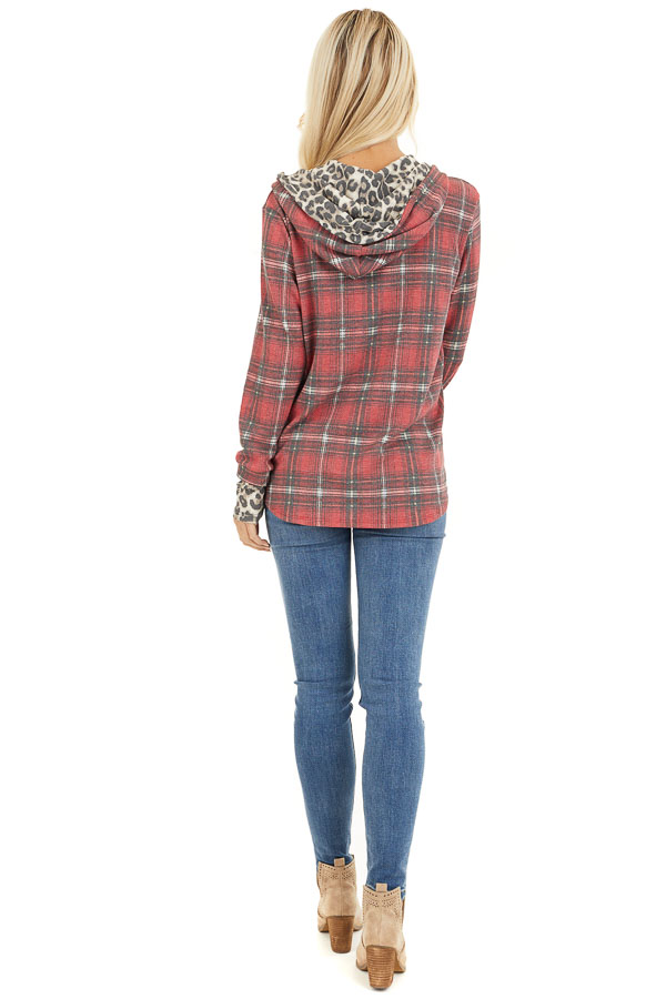 Faded Ruby Plaid Hoodie Top with Leopard Print Contrast back full body