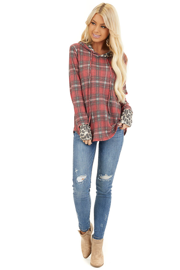 Faded Ruby Plaid Hoodie Top with Leopard Print Contrast front full body