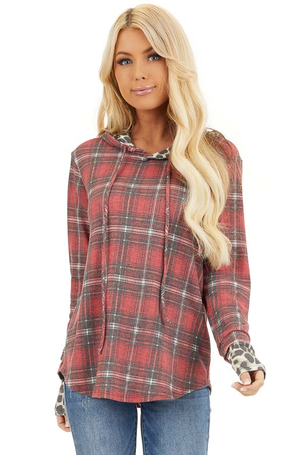 Faded Ruby Plaid Hoodie Top with Leopard Print Contrast front close up