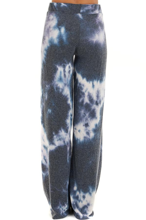 Navy and Lavender Tie Dye Super Soft Wide Leg Lounge Pants back view