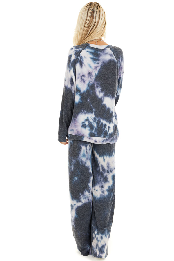 Navy and Lavender Tie Dye Super Soft Wide Leg Lounge Pants back full body