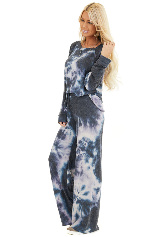 Navy and Lavender Tie Dye Super Soft Wide Leg Lounge Pants side full body