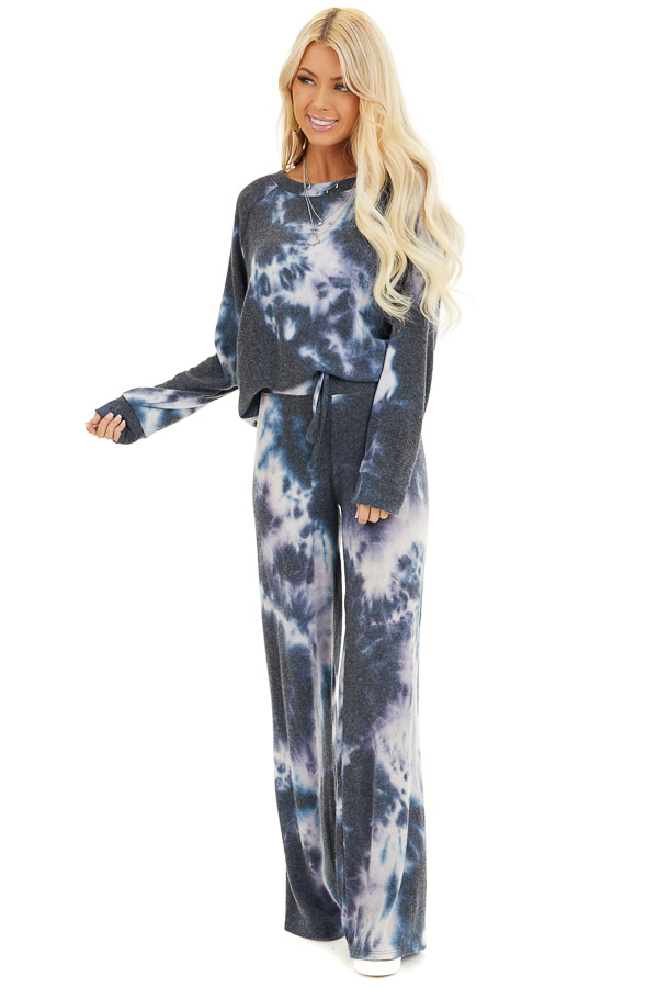 Navy and Lavender Tie Dye Super Soft Wide Leg Lounge Pants front full body