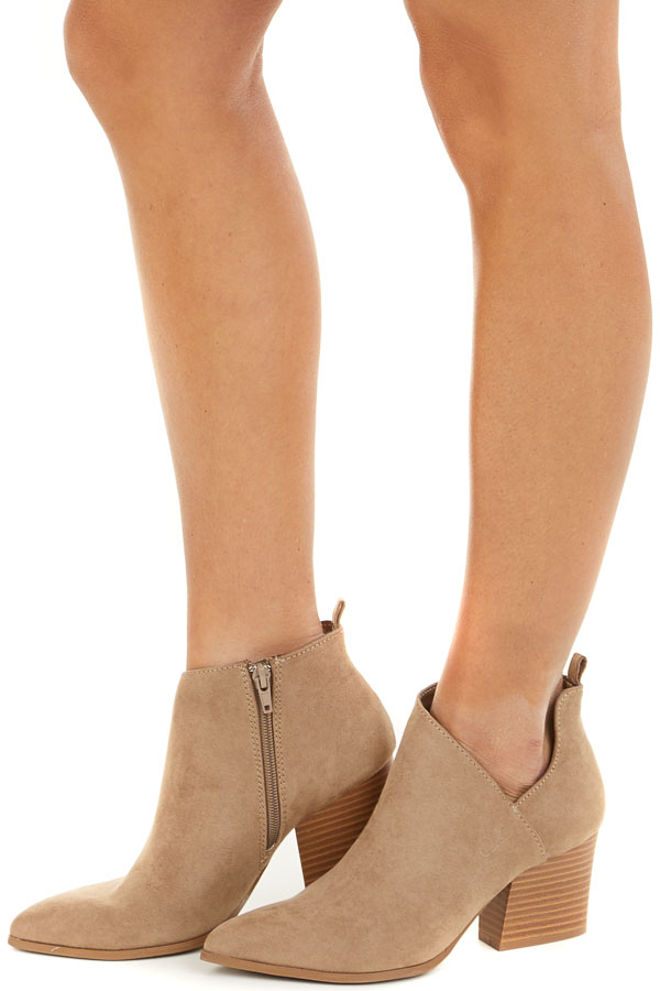 Taupe Faux Suede Pointed Toe Bootie with Cutout Detail side view